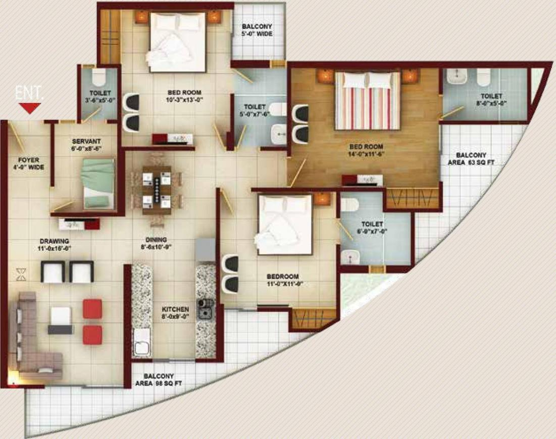Samridhi Grand Avenue Iconic Tower Floor Plan: 3 BHK Unit with Built up area of 1730 sq.ft 1