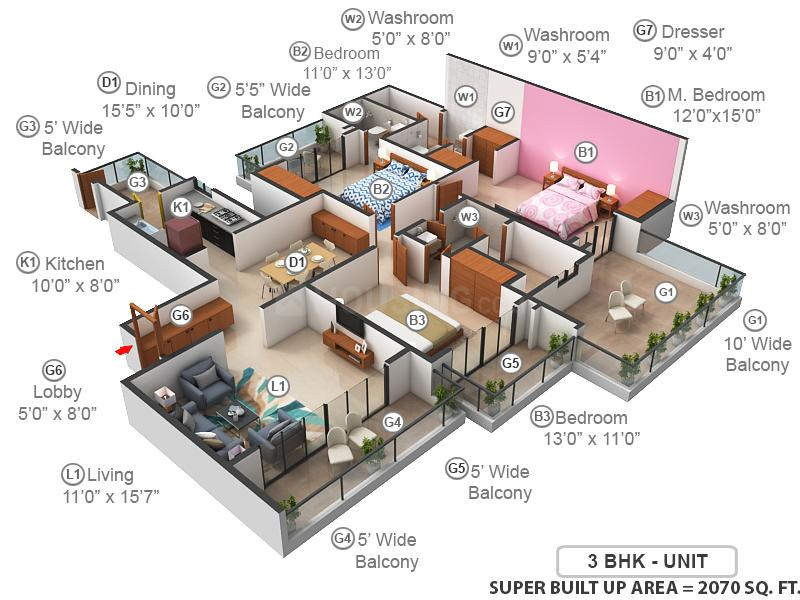 Prateek Edifice Floor Plan: 3 BHK Unit with Built up area of 2070 sq.ft 1