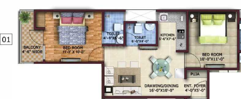 Ambesten Twin County Floor Plan: 2 BHK Unit with Built up area of 910 sq.ft 1