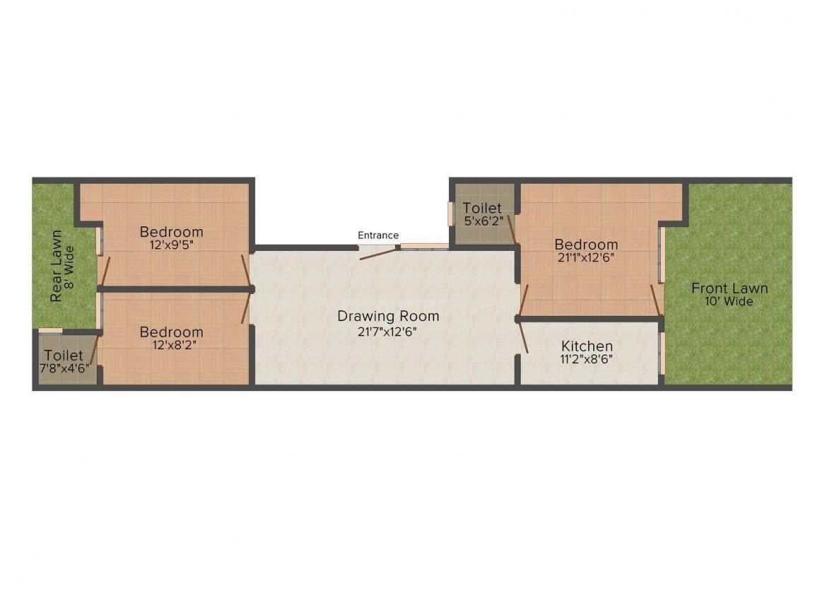 Floor Plan Image of 0 - 1350 Sq.ft 3 BHK Independent Floor for buy in V. P. Homes 44