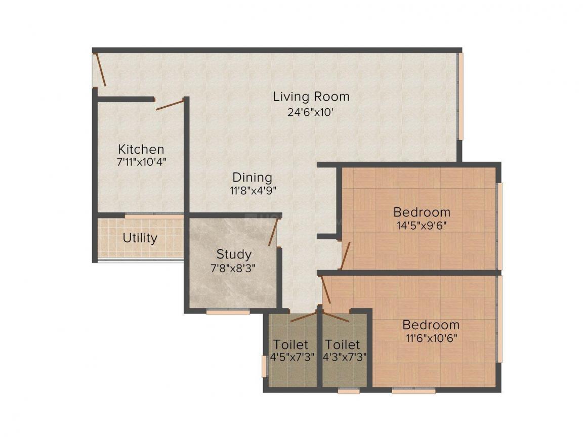Floor Plan Image of 807.29 - 925.7 Sq.ft 2 BHK Apartment for buy in Sumit Sumit Garden Grove