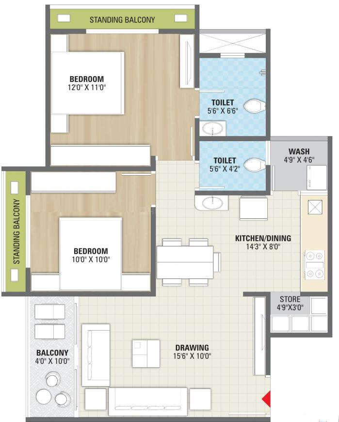 Siddhi Sikshapatri Avenue Floor Plan: 2 BHK Unit with Built up area of 614 sq.ft 1