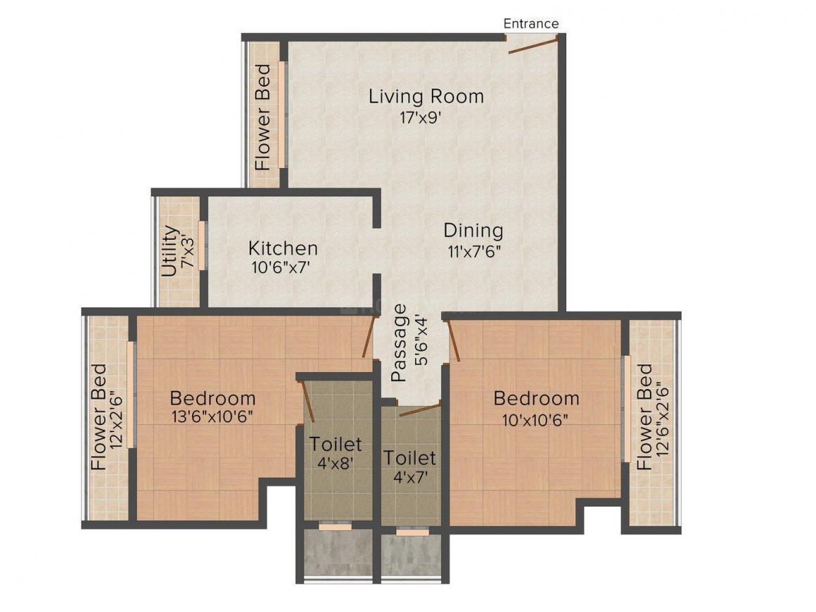 Floor Plan Image of 710 - 1050 Sq.ft 1 BHK Apartment for buy in Shreeji Residency 1
