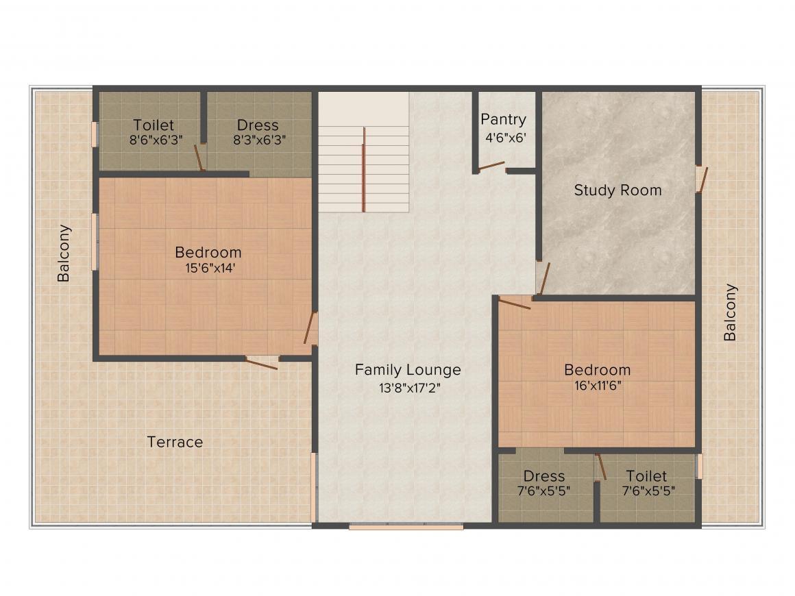 Aadhar Dew Drops Villas Floor Plan: 3 BHK Unit with Built up area of 2050 sq.ft 4