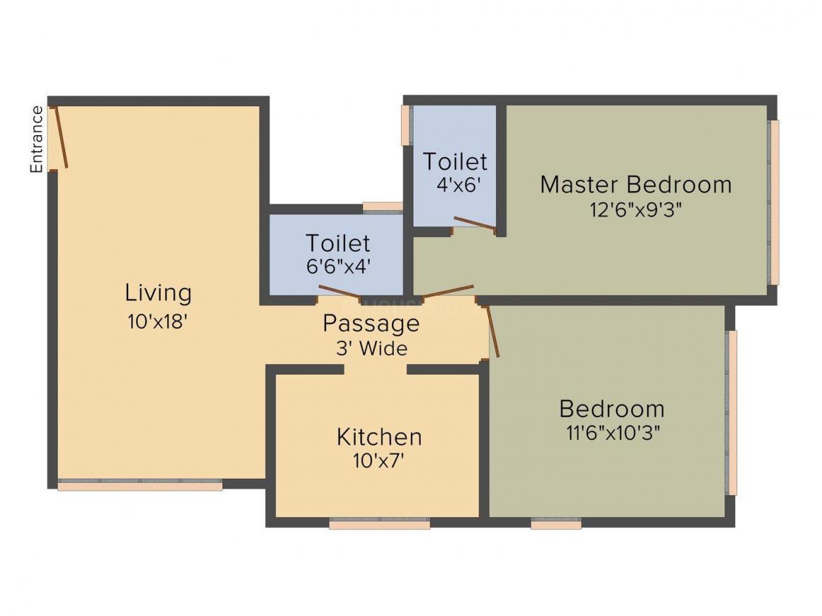 Floor Plan Image of 0 - 852.0 Sq.ft 2 BHK Apartment for buy in Radheya Krishna Chhaya