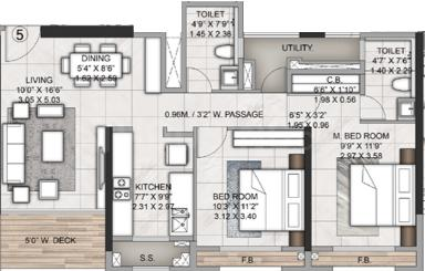 Rustomjee Azziano Wing I Floor Plan: 2 BHK Unit with Built up area of 638 sq.ft 2