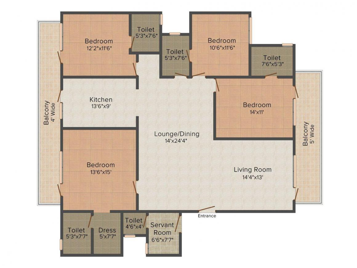 Floor Plan Image of 0 - 2000.0 Sq.ft 4 BHK Independent Floor for buy in Tanishk Floors - 2