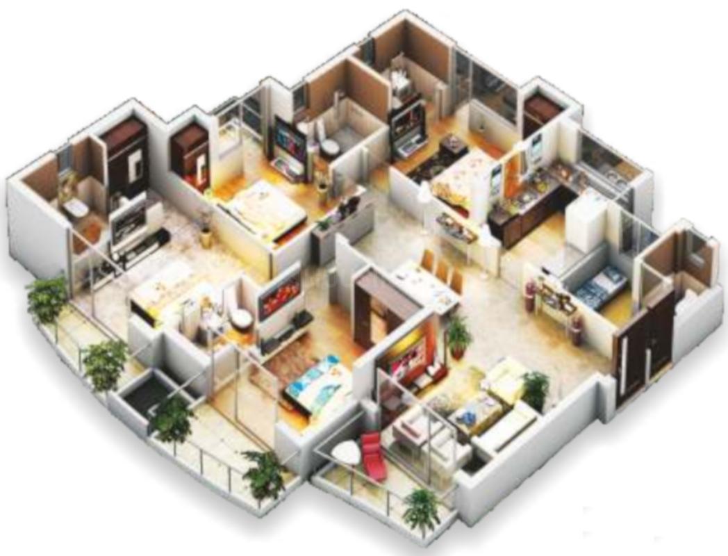 Ansal API Havana Heights Floor Plan: 4 BHK Unit with Built up area of 2351 sq.ft 1