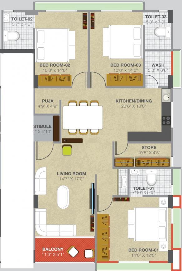 Avaska Kallisto 14 Floor Plan: 3 BHK Unit with Built up area of 1133 sq.ft 1