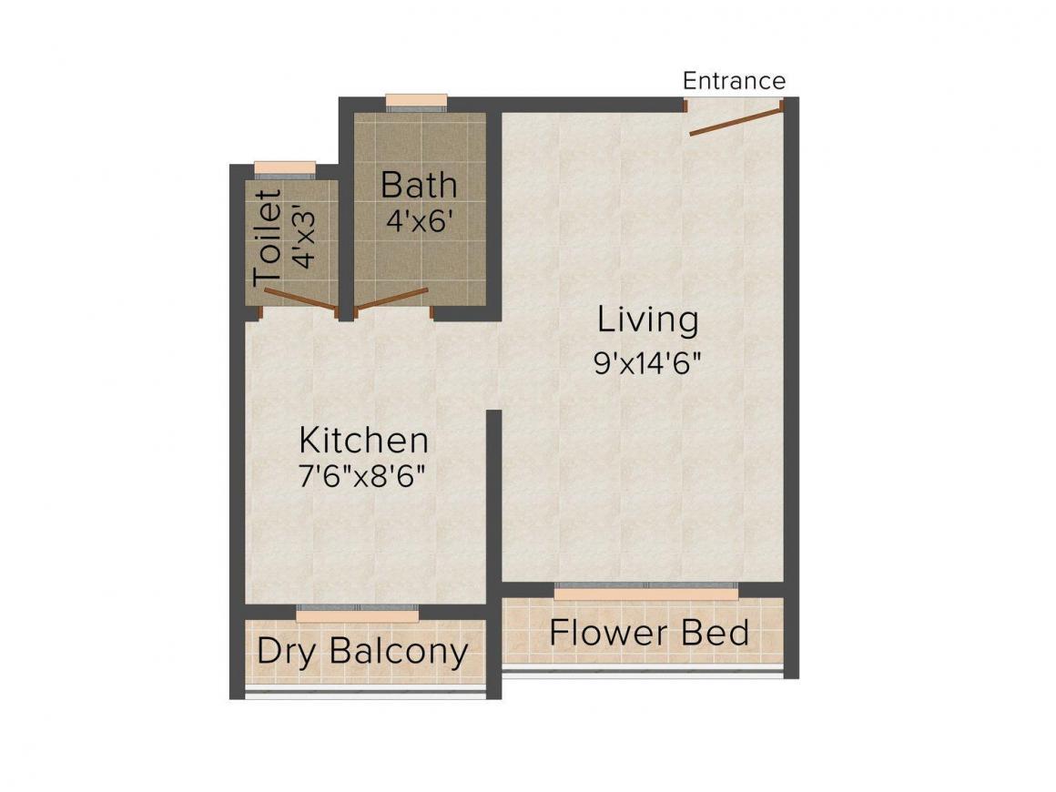 Floor Plan Image of 380.0 - 570.0 Sq.ft 1 RK Apartment for buy in Shree Vitthal Krupa