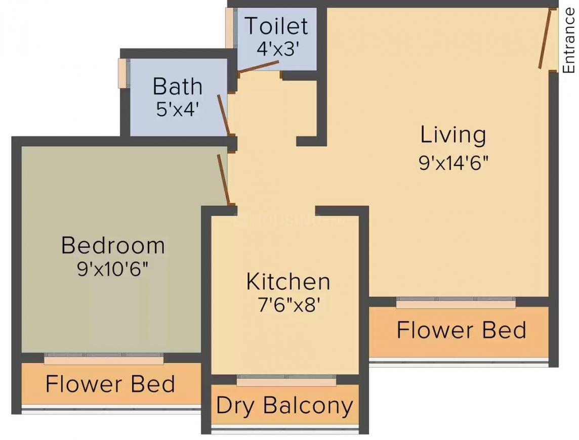 Floor Plan Image of 660.0 - 950.0 Sq.ft 1 BHK Apartment for buy in Shree Greg Marsh Residency