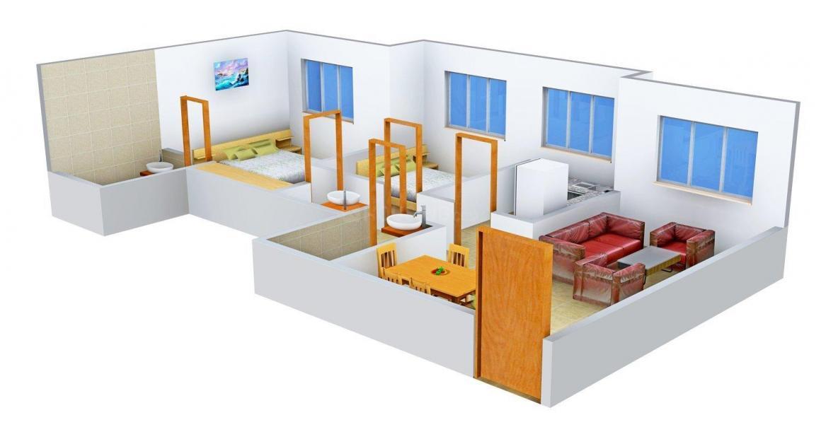 Floor Plan Image of 740.0 - 750.0 Sq.ft 2 BHK Apartment for buy in Hiranandani Builder Zen Tamara