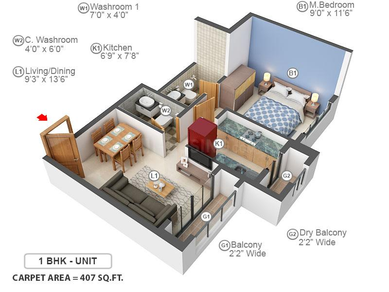 Sunteck Maxx World Floor Plan: 1 BHK Unit with Built up area of 407 sq.ft 1