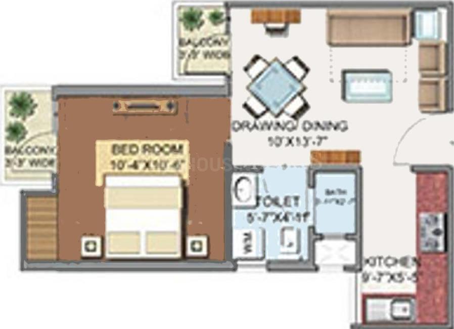 Aditya Urban Homes Floor Plan: 1 BHK Unit with Built up area of 545 sq.ft 1
