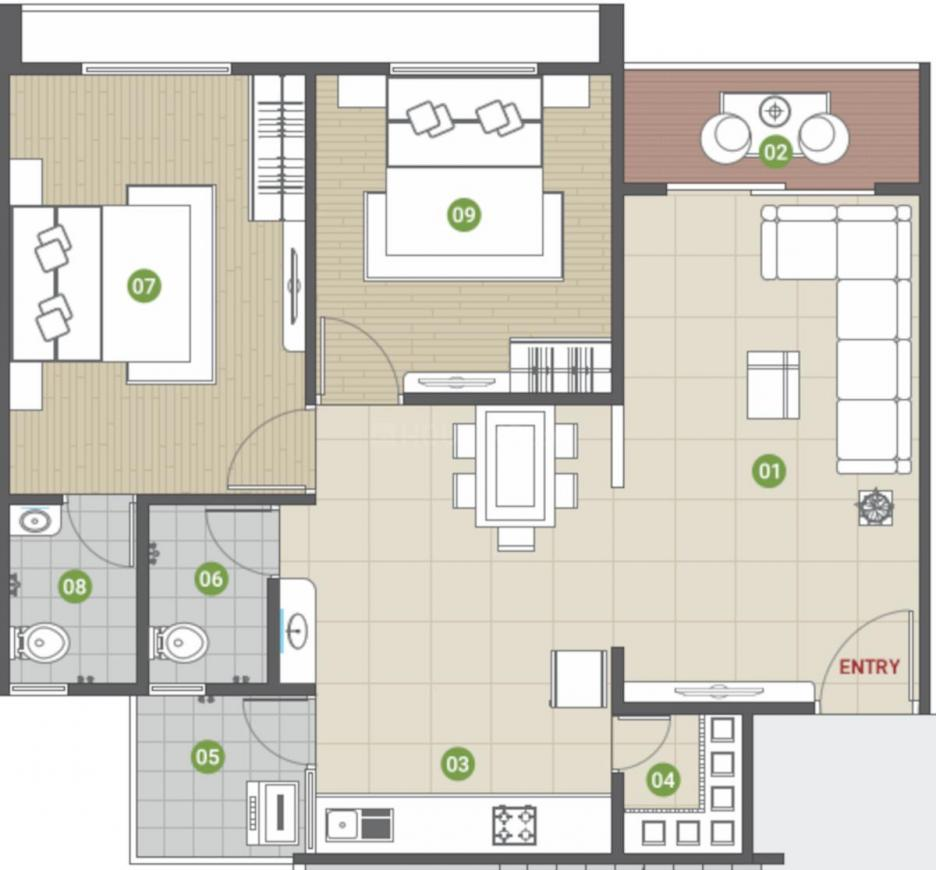 Shree Vallabh Parijat Residency Floor Plan: 2 BHK Unit with Built up area of 662 sq.ft 1