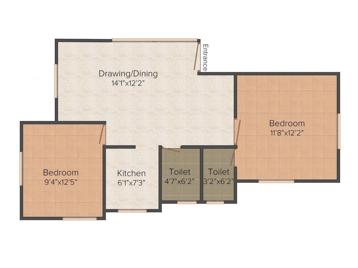 Floor Plan Image of 950 - 1025 Sq.ft 2 BHK Apartment for buy in 2040, Brahmapur