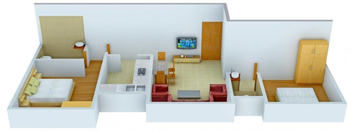 Sri 10 Square Floor Plan: 2 BHK Unit with Built up area of 630 sq.ft 1