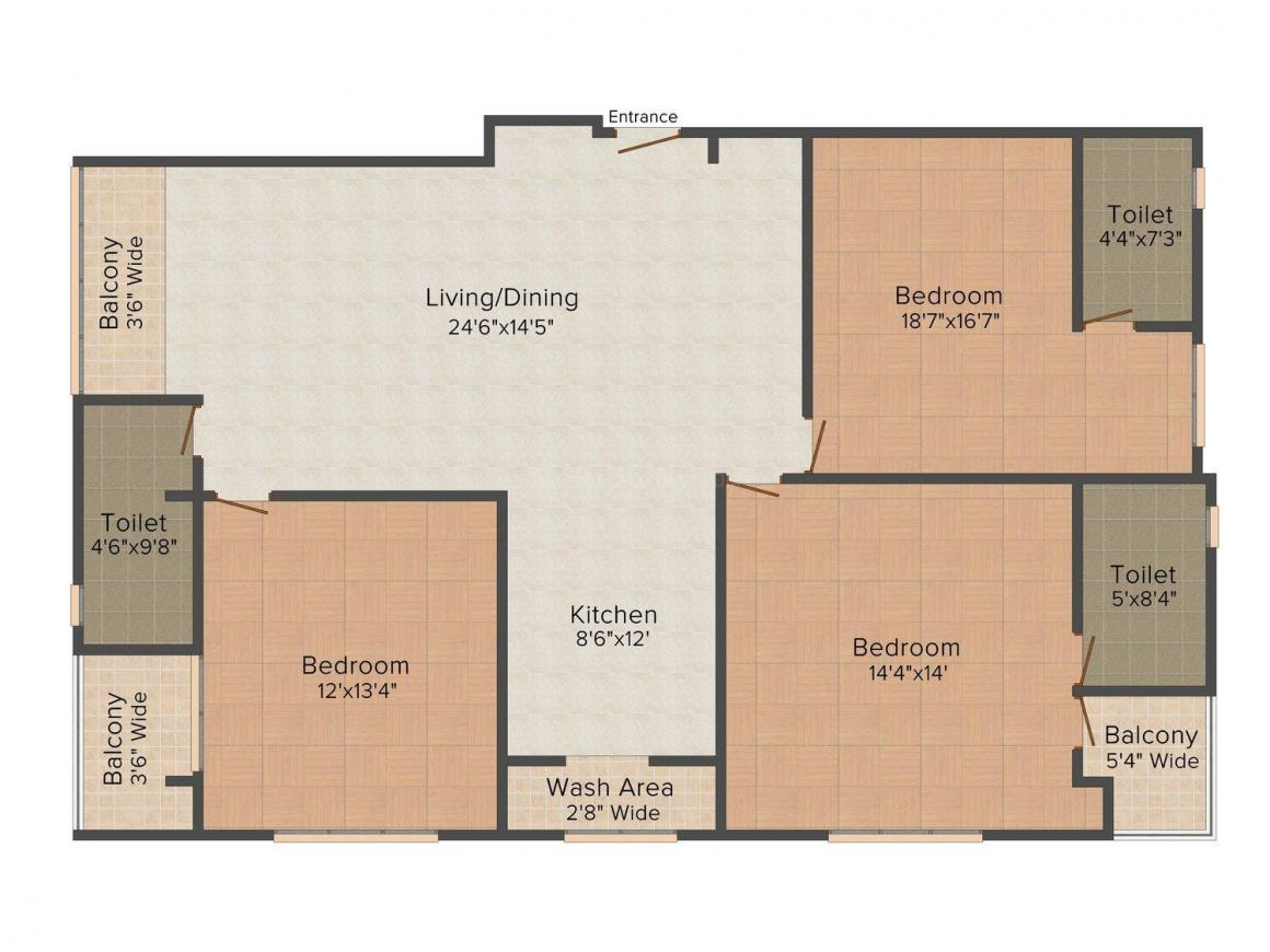 Floor Plan Image of 1680.0 - 1864.0 Sq.ft 3 BHK Apartment for buy in Shiven Mension