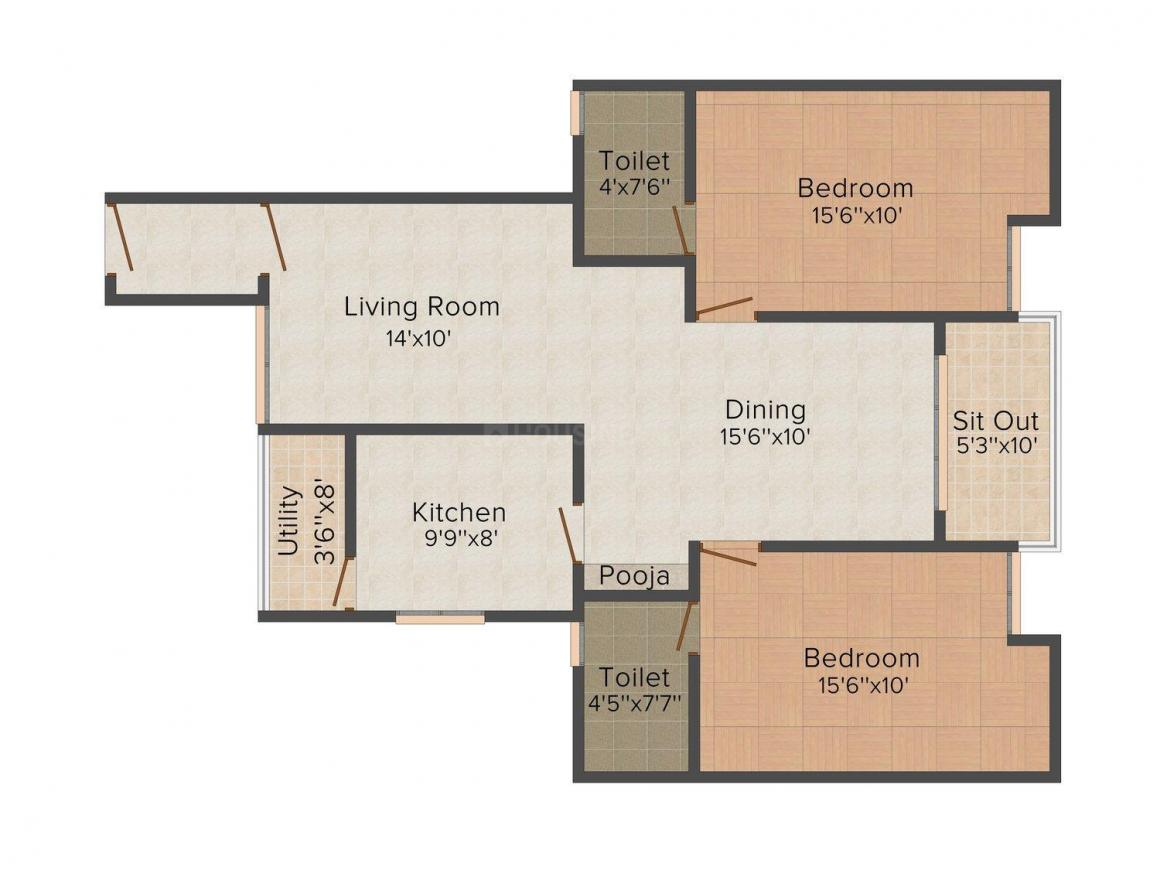 Floor Plan Image of 1115 - 1848 Sq.ft 2 BHK Apartment for buy in Royal Skyline