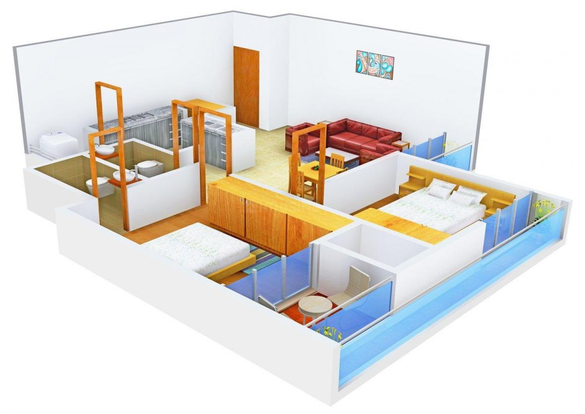 Avirat Silver Flora Floor Plan: 2 BHK Unit with Built up area of 1215 sq.ft 1