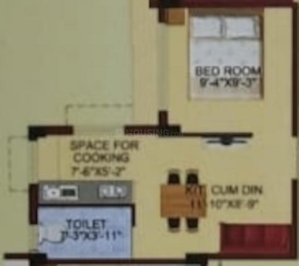 Azure Residency Floor Plan: 1 BHK Unit with Built up area of 451 sq.ft 1