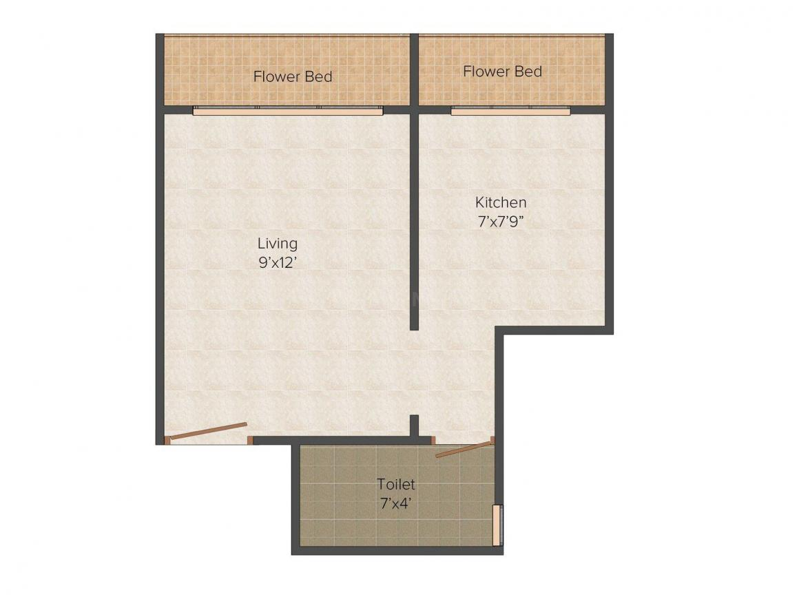 Floor Plan Image of 395.0 - 570.0 Sq.ft 1 RK Apartment for buy in Hriday Bhakti Avenue