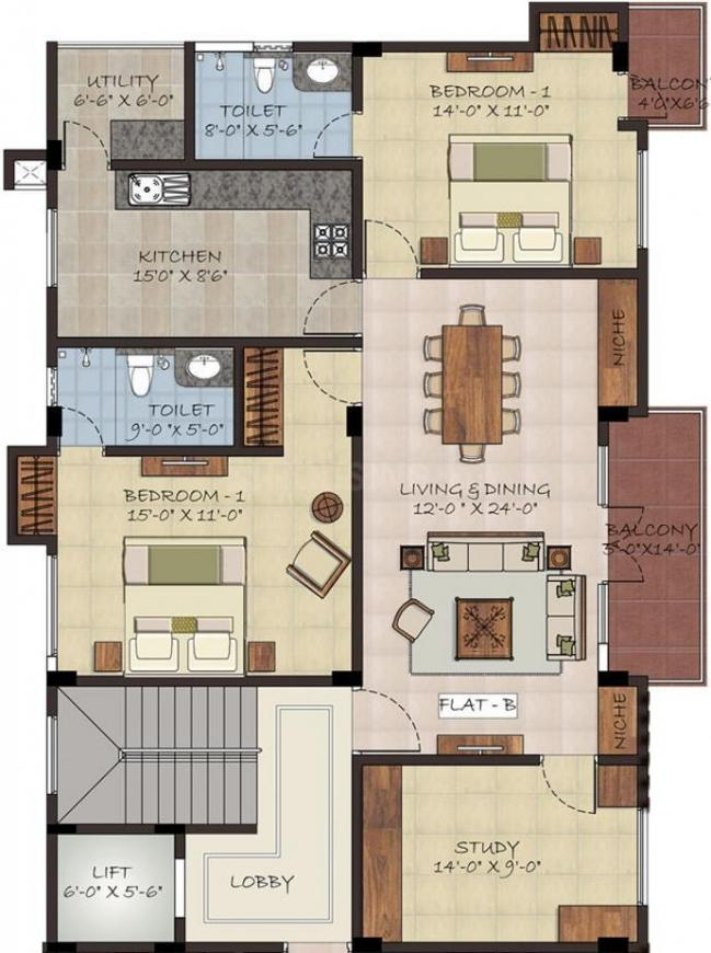 Sumanth Sreshta Bazullah Road Floor Plan: 2 BHK Unit with Built up area of 1400 sq.ft 1