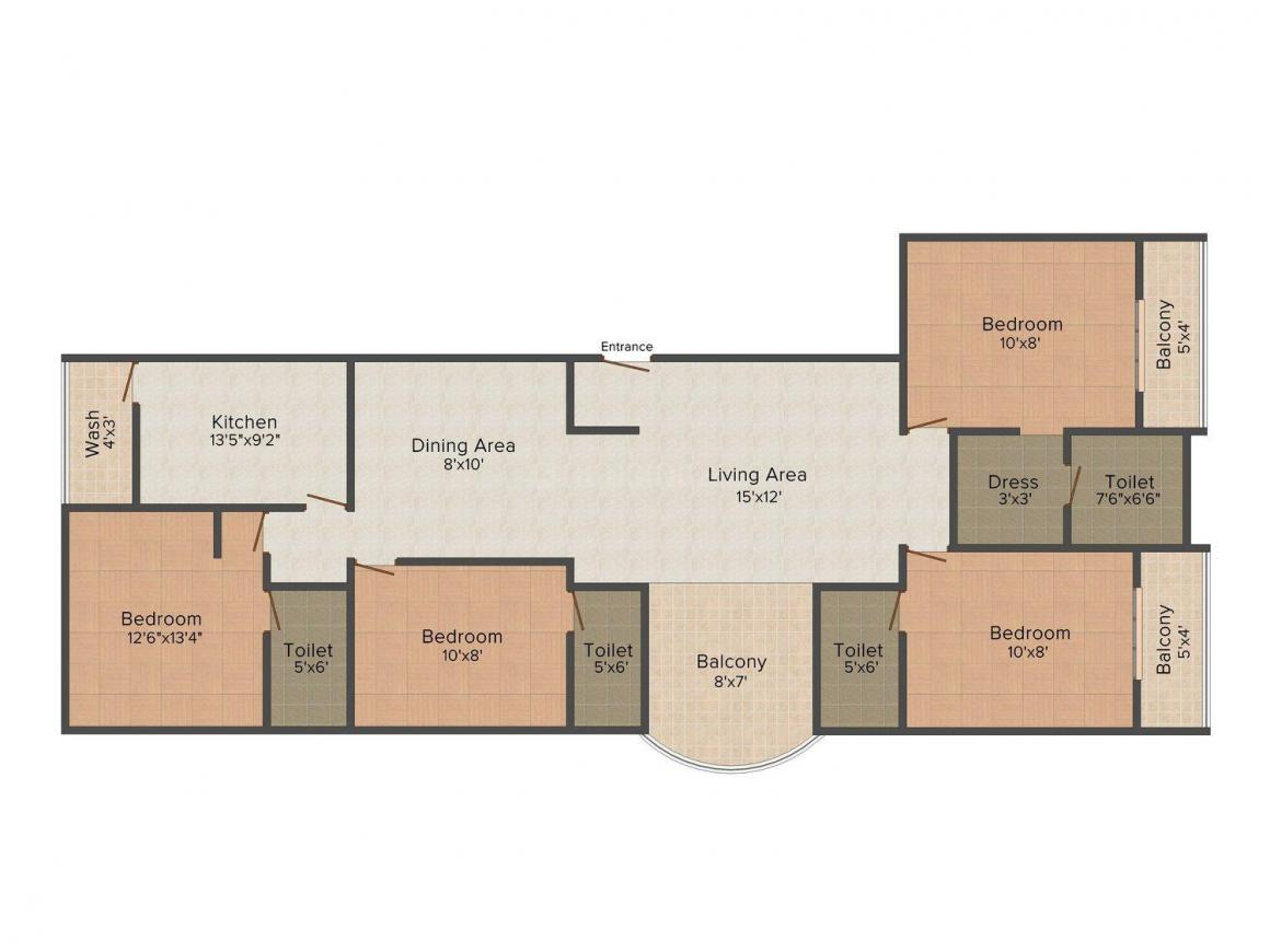 Floor Plan Image of 0 - 1200 Sq.ft 4 BHK Apartment for buy in Morya Galaxy