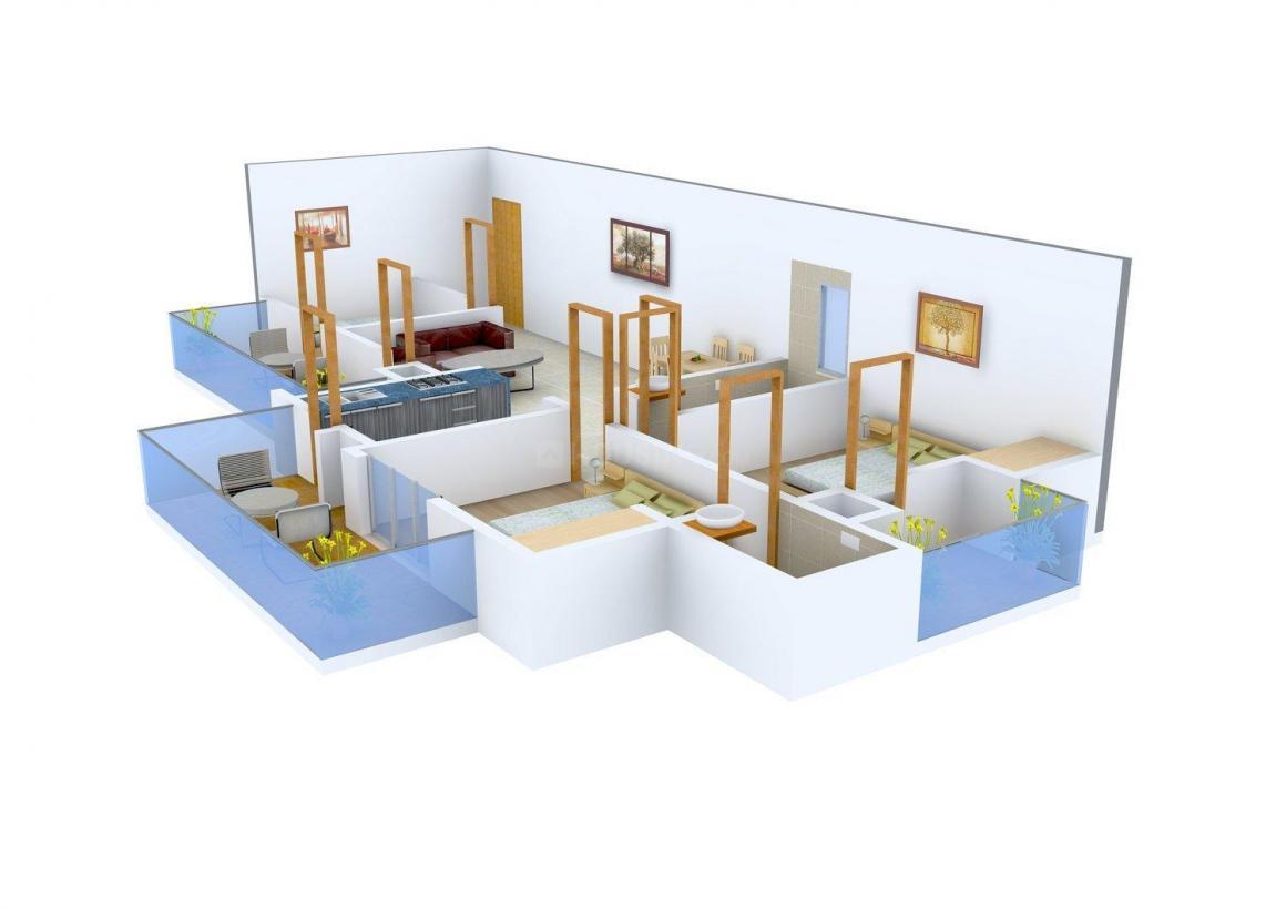 Aadharsheela Veronika Height Floor Plan: 2 BHK Unit with Built up area of 1050 sq.ft 1