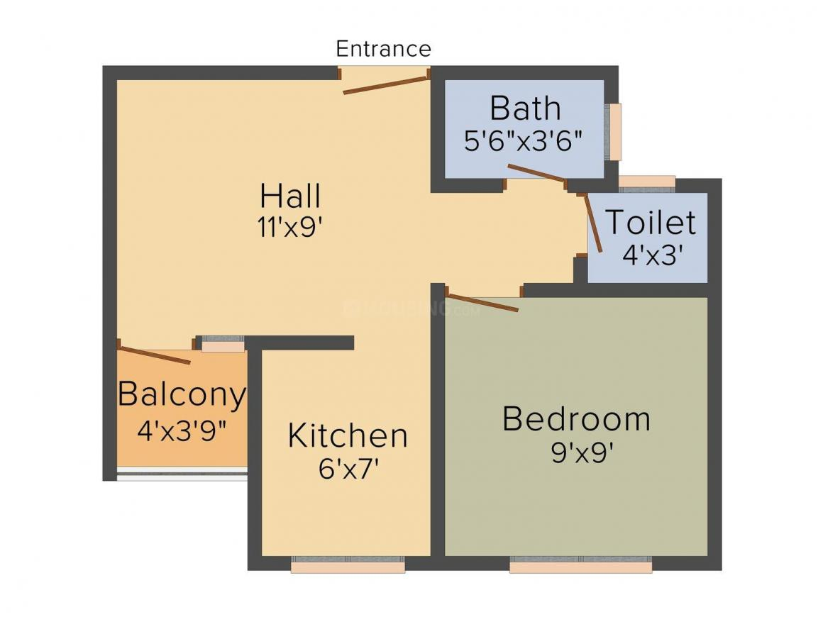 Floor Plan Image of 290 - 590 Sq.ft 1 RK Apartment for buy in Sai Pooja Shree Datta Nagri Phase 2