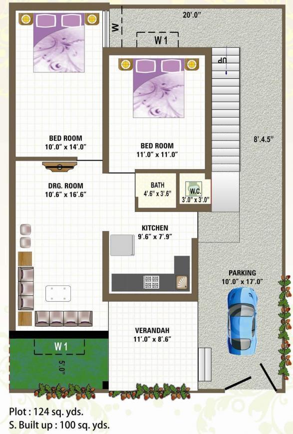 Bhagirath Bhagirath Villa Floor Plan: 2 BHK Unit with Built up area of 900 sq.ft 1