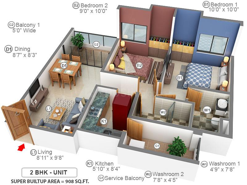 The 102 Floor Plan: 2 BHK Unit with Built up area of 908 sq.ft 1
