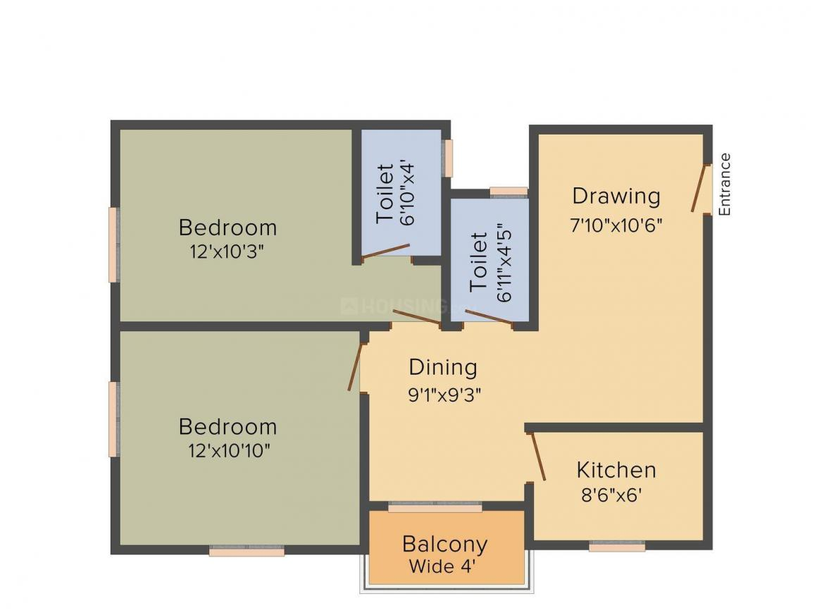 Floor Plan Image of 965.0 - 1331.0 Sq.ft 2 BHK Apartment for buy in GM Meena Paradise