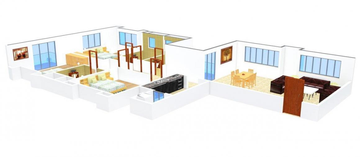 Clover Olympus Floor Plan: 3 BHK Unit with Built up area of 2190 sq.ft 1