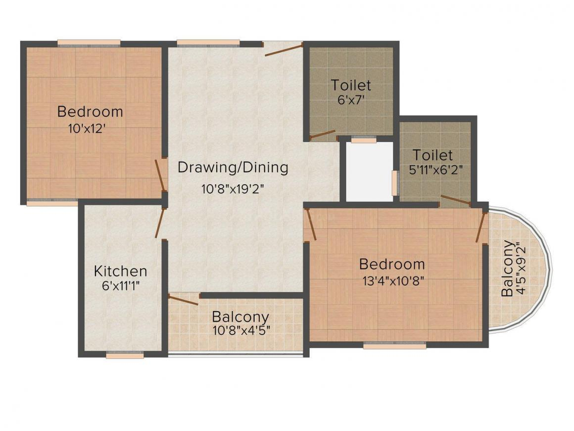 Om Dev Construction Vidhya Kunj Floor Plan: 2 BHK Unit with Built up area of 981 sq.ft 1