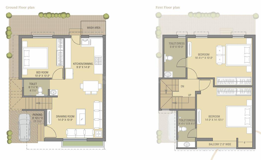 Auro Aastha Floor Plan: 3 BHK Unit with Built up area of 1207 sq.ft 1