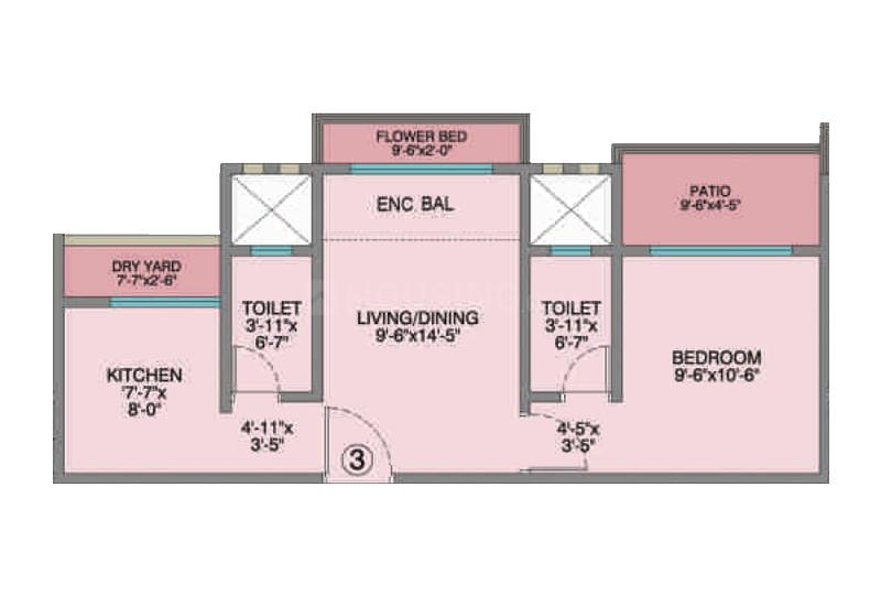 Poonam Park View Phase II Floor Plan: 1 BHK Unit with Built up area of 481 sq.ft 1