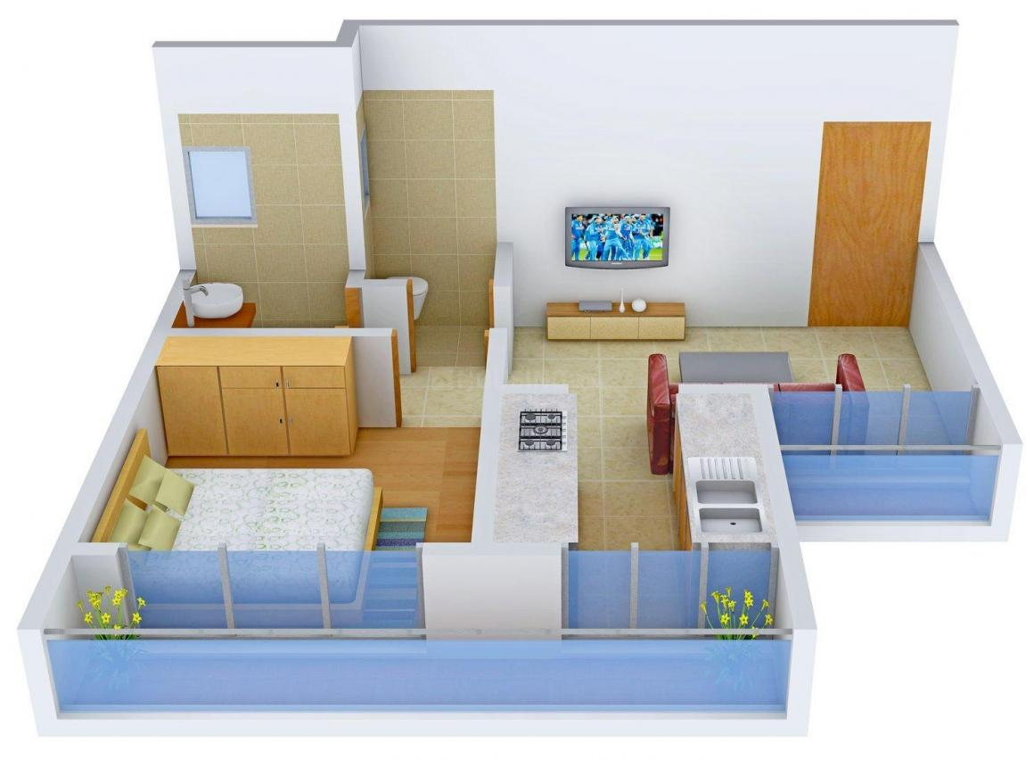 Floor Plan Image of 0 - 590 Sq.ft 1 BHK Apartment for buy in Khushi Paradise - II