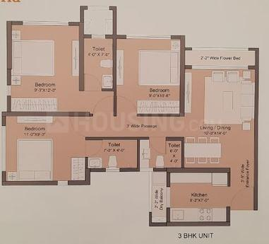 Sunteck MaxxWorld 2 Tivri Naigaon East Floor Plan: 1 BHK Unit with Built up area of 306 sq.ft 2