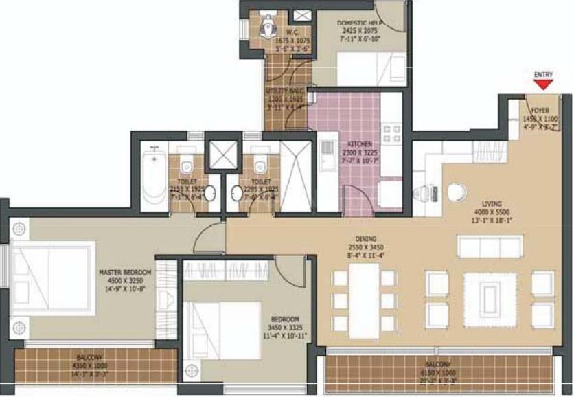 Unitech Harmony Floor Plan: 2 BHK Unit with Built up area of 1574 sq.ft 1