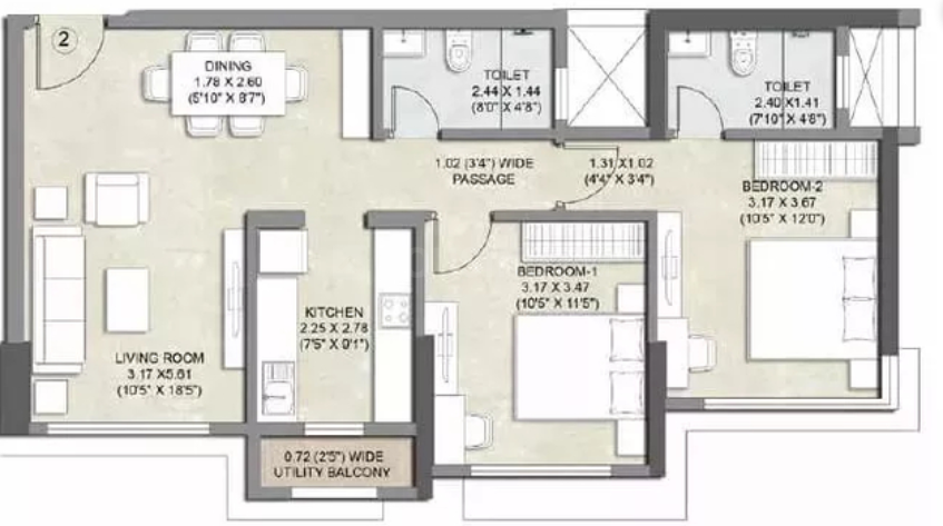 Kalpataru Bliss Apartments Floor Plan: 2 BHK Unit with Built up area of 726 sq.ft 1