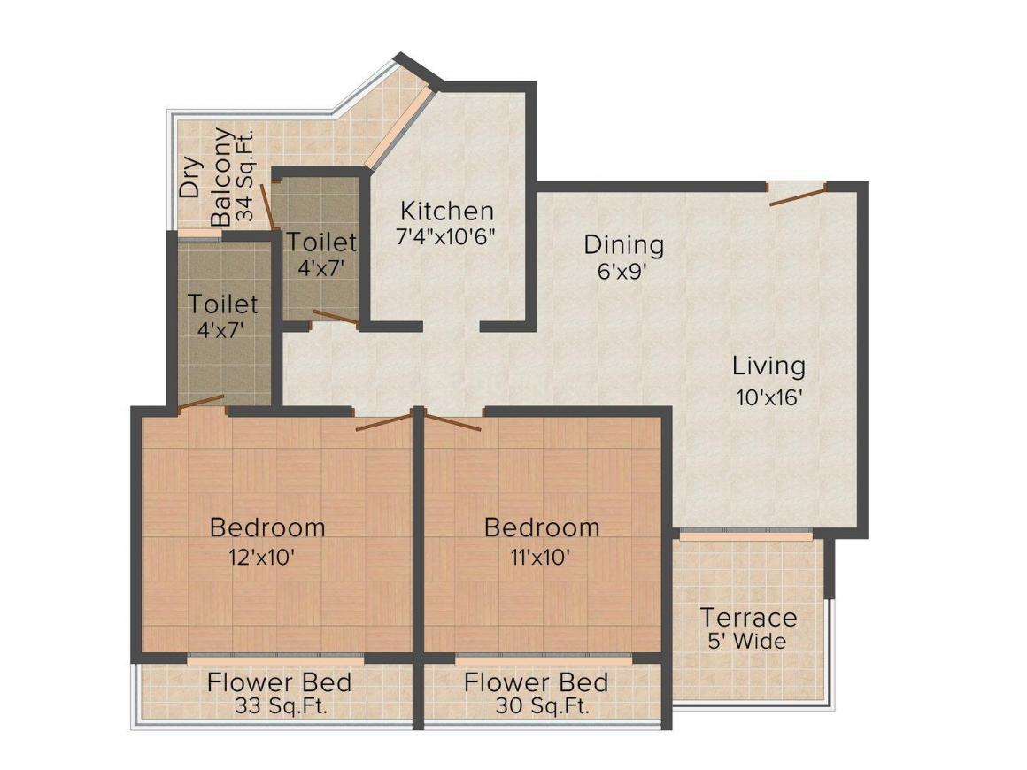 Floor Plan Image of 1155.0 - 1170.0 Sq.ft 2 BHK Apartment for buy in Aditya Amar Heights