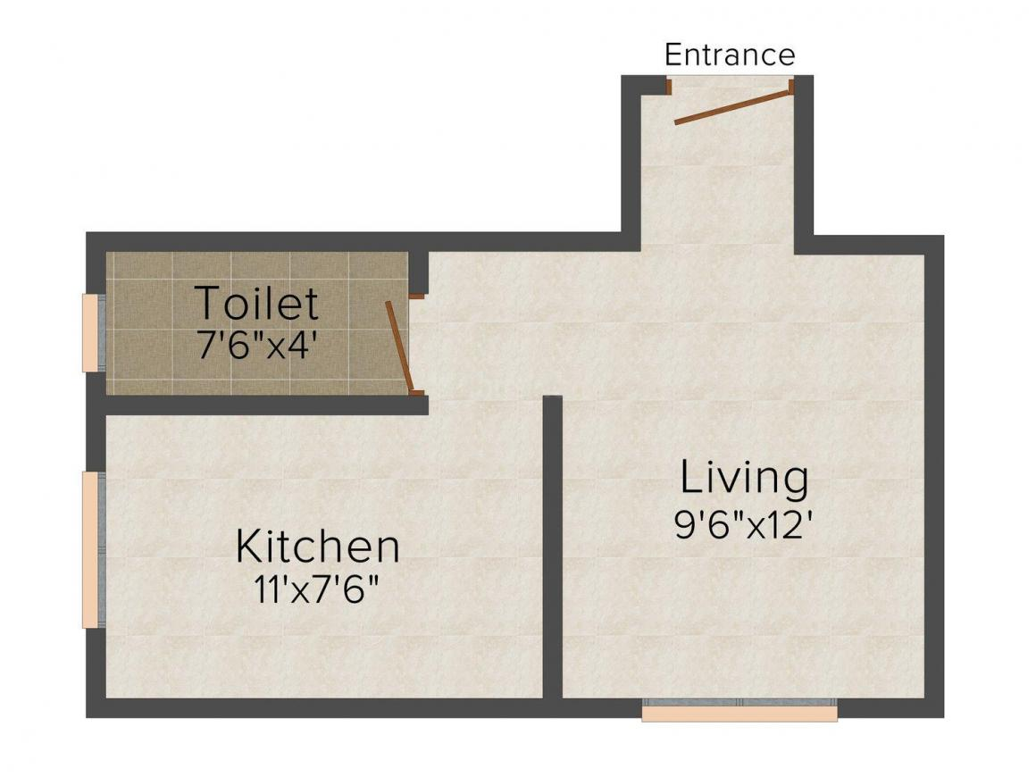 Floor Plan Image of 360.0 - 550.0 Sq.ft 1 RK Apartment for buy in Dhanlaxmi Riya Residency