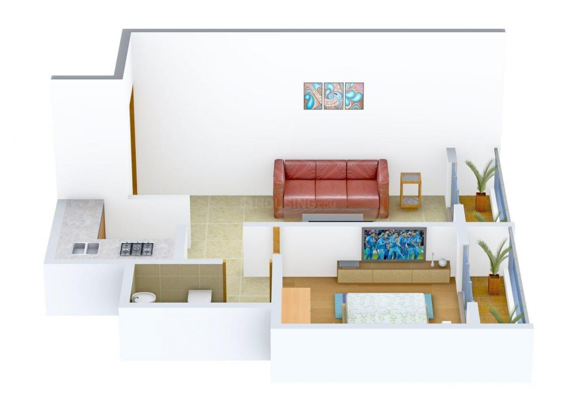 Floor Plan Image of 565.0 - 580.0 Sq.ft 1 BHK Apartment for buy in Sawant Madhunanda Residency