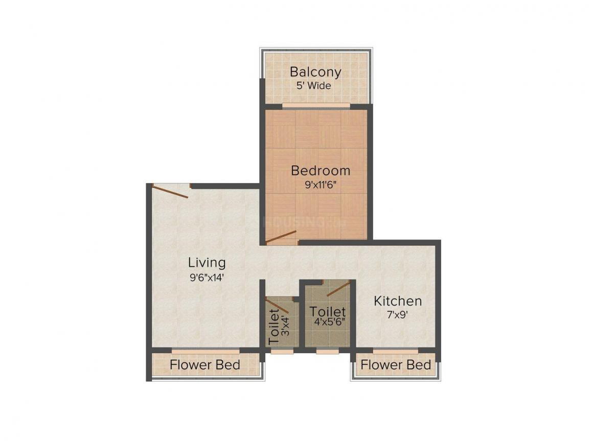 Floor Plan Image of 735.0 - 990.0 Sq.ft 1 BHK Apartment for buy in Deepali Raviraj Residency