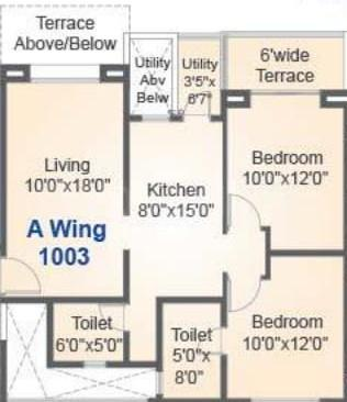 Soham Riveria Floor Plan: 2 BHK Unit with Built up area of 571 sq.ft 1