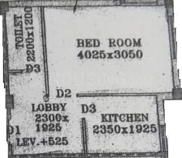 Nandy Avisha Apartment Floor Plan: 1 BHK Unit with Built up area of 450 sq.ft 1