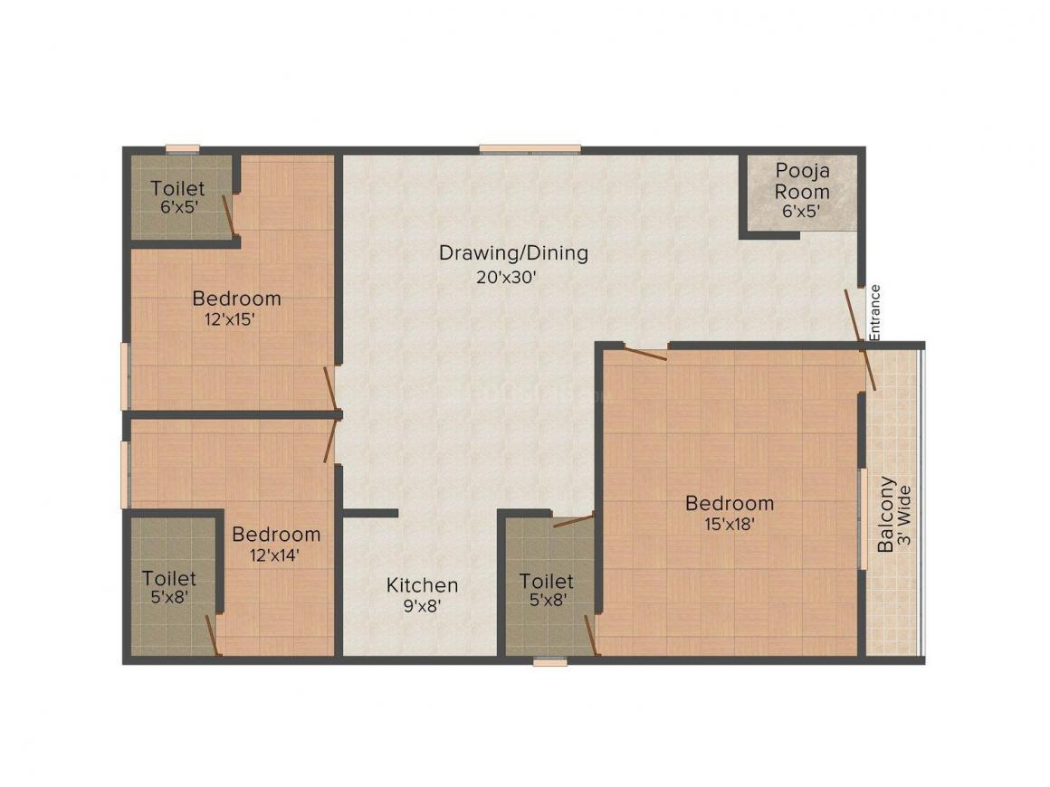 Floor Plan Image of 0 - 1800 Sq.ft 3 BHK Independent Floor for buy in Satyam Apartment - M121