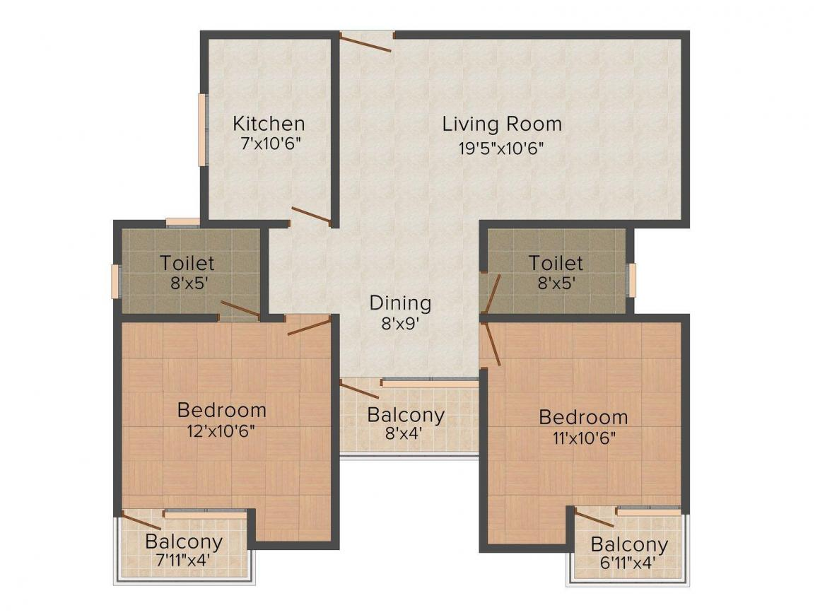 Floor Plan Image of 900.0 - 1280.0 Sq.ft 2 BHK Apartment for buy in Okay Plus Venus