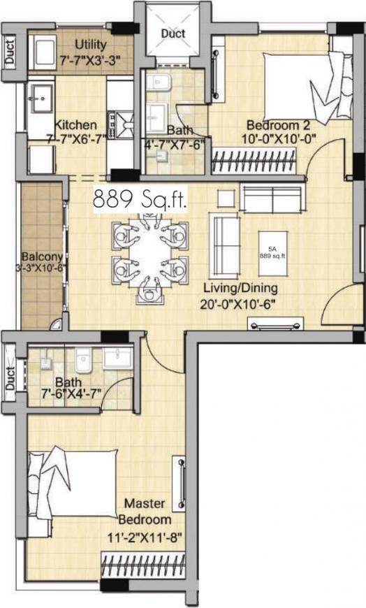 Newry Sabari Sattva Floor Plan: 2 BHK Unit with Built up area of 889 sq.ft 1